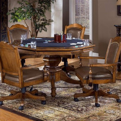 "Hillsdale - Naussau 2-in-1 Poker Dining Table 5 Pc Set - A perfect mix of informal and classic styling ��� the Nassau five-piece game set offers great charm with an entertainment focus. Designed to provide hours of pleasure in the ultimate comfort of leather upholstered chairs. Table is felted and rimmed for all the favorite games. * For residential use. Set Includes: Game Table & 4 Leather Back Game Chairs. Table has a solid pedestal base. Chairs are on rolling casters and adjust from 36"" to 39"" in height. A perfect mix of informal and classic styling - the Nassau five-piece game set offers great charm with an entertainment focus.. Designed to provide hours of pleasure in the ultimate comfort of leather upholstered chairs.. Table is felted and rimmed for all the favorite games.Dimensions: . Game Table: 30H x 52W x 52D . Game Chair: 22W x 20D x 36 to 39H"