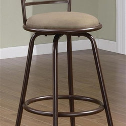Coaster - 29 in. X-Back Barstool w Upholstered Seat - S - Set of 2. Contemporary style. Soft round brown microfiber fabric seat. Simple tube metal legs. Round footrest. Seat depth: 14.5 in.. Seat height: 29 in.. Overall: 22 in. Dia. x 43 in. H. WarrantyThis lovely brown metal bar stool offers a distinctive X-chair back. This bar stool will blend easily with your home decor.