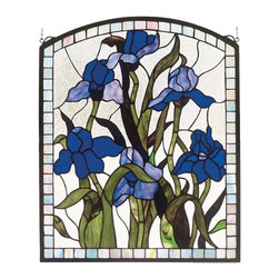 Meyda Tiffany - 20 in. Iris Window Panel - Includes mounting bracket and jack chain. Tiffany floral nouveau style. Handcrafted of 124 pieces of stained art glass utilizing the copperfoil construction process. 20 in. W x 24 in. H (40 lbs.). Care InstructionsMeyda tiffany's original iris design celebrates the beauty of the flower named for Juno's messenger who was turned into a rainbow. Purple iris flowers and spring green leaves adorn a clear frost background banded in sky blue.