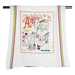 CATSTUDIO - Atlanta Dish Towel by Catstudio - The original design celebrates the city of Atlanta.This design is silk screened, then framed with ahand embroidered border on a 100% cotton dish towel/ hand towel/ guest towel/ bar towel. Three stripes down both sides and hand dyed rick-rack at the top and bottom add a charming vintage touch. Delightfully presented in a reusable organdy pouch. Machine wash and dry.