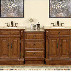 Silkroad Exclusive - Silkroad Exclusive 95-inch Stone Counter Top Bathroom Vanity Lavatory Double Sin - This Empire style sink vanity with modest carvings and beautiful finish will surely give any bathroom the appeal that it deserves. With a total of 95 counter space and off center sinks, you can swap the units any way you want to fit your bathroom design