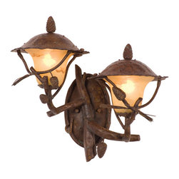 Kalco Lighting - Kalco Lighting 9162PD Ponderosa 2-Light Outdoor Wall Lights in Ponderosa - The Ponderosa Outdoor Collection is a playful interpretation of traditional outdoor lighting. Featuring Kalco's exclusive Ponderosa finish and Faux Marble shades, the decorative natural elements these lanterns are at once rustic and fashionable.