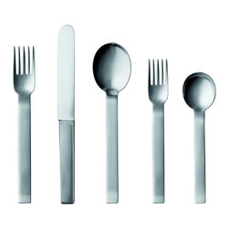 Pott - Rectangular Upturn 5-Piece Set, Stainless Steel - There is a time and a place for everything, and these perfectly balanced and beautifully designed place settings will look stunning at your next dinner party. If you believe every meal should be celebrated with such style, by all means use them here and now.