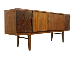 Beautility - Mid Century Burl Effect Drinks Cabinet/Bar/Buffet by Beautility - So Cool!! Mid Century Drinks Cabinet/Bar/Credenza/Buffet with Burl Effect by Beautility  Retro. Circa 1950's Such an unusual and cool piece!! Mid Century Retro Drinks Cabinet/Bar by Beautility with Hidden drinks cabinet. Modern sleek design with burl effect either end. Features a central door opening to a hidden drinks cabinet with shelving and space for drinks, glasses etc. A door to the right with shelving and a door to the left with 2 integrated drawers and storage room. Disclosure: All items are vintage - so they are not perfect, we try to disclose what scratches etc there are and are always willing to send extra photos. Colors can vary - items of the same make and line can be different shades.
