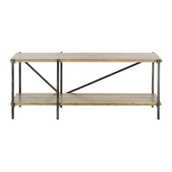 Safavieh - Theodore Console - It's the new traditionalism: The Theodore console table��_s natural fir wood with reclaimed look and metal legs transform the stodgy notion of the traditional table with new rustic-chic industrial flair. Its fresh modern lines and geometric style breathe new life into interiors in need of an update without losing their classic touch.