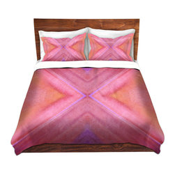 DiaNoche Designs - Duvet Cover Twill - Geo IV - Lightweight and soft brushed twill Duvet Cover sizes Twin, Queen, King.  SHAMS NOT INCLUDED.  This duvet is designed to wash upon arrival for maximum softness.   Each duvet starts by looming the fabric and cutting to the size ordered.  The Image is printed and your Duvet Cover is meticulously sewn together with ties in each corner and a concealed zip closure.  All in the USA!!  Poly top with a Cotton Poly underside.  Dye Sublimation printing permanently adheres the ink to the material for long life and durability. Printed top, cream colored bottom, Machine Washable, Product may vary slightly from image.