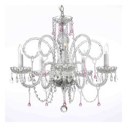 """The Gallery - Swarovski crystalrimmed chandelier - Pink Crystal chandelier chandeliers Light - This beautiful chandelier is trimmed with Sprectra crystal reliable crystal by Swarovski. Swarovski is the world's leading manufacturer of high quality crystal. Sprectra crystal Swarovski undergoes stringent quality control and offers the best crystal uniformity of sparkle, light reflection and Sprectral colors. A Great European Tradition. Nothing is quite as elegant as the fine crystal chandeliers that gave sparkle to brilliant evenings at palaces and manor houses across Europe. This beautiful crystal chandelier is decorated with 100% crystal that captures and reflects the light of the candle bulbs, each resting in a scalloped bobache.The timeless elegance of this chandelier is sure to lend a special atmosphere in every home. Please note this item requires assembly. This item comes with 18 inches of chain. Size: H.25"""" X W.24"""" 5 LIGHTS. Lightbulbs not included."""