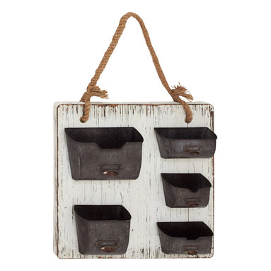Wood Metal Wall Organizer - Description: