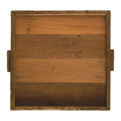 Be Home - Reclaimed Wood Tray, Square XL - Reclaim your sense of style. This extra large tray is made from reclaimed and ecologically harvested wood and features carrying handles and a raised edge to keep you steady. Picture its gorgeous grain as the perfect landing pad for your next movable feast.