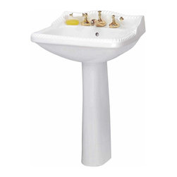"""Renovators Supply - Pedestal Sinks White China Roped Pedestal Sink 8"""""""" Widespread 