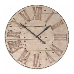 Harrington Reclaimed Look 36-in. Wall Clock - Looking like it's cut from the hardwood floor of an old farmhouse the Harrington Reclaimed Look 36-in. Wall Clock has an antiqued ivory finish with chestnut undertones to give it a weathered appearance. Gentle distressing around the outside edge adds to the antique look and makes this clock a perfect addition to any rustic or classic decor.About Uttermost:The mission of the Uttermost Company is simple: to make great home accessories at reasonable prices. This has been their objective since founding their family-owned business over 30 years ago. Uttermost manufactures mirrors art metal wall art lamps accessories clocks and lighting fixtures in its Rocky Mount Virginia factories. They provide quality furnishings throughout the world from their state-of-the-art distribution center located on the West Coast of the United States.
