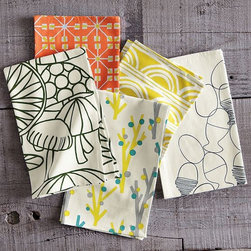 Novelty Tea Towels - Have more fun in the kitchen with mix-and-match tea towels in whimsical colors and retro-mod patterns.