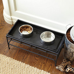 Ballard Designs - Pet Food Tray Stand - Made to use exclusively with our Rubber Pet Food Trays. Available in 3 sizes. Imported. We've added a Stand to our best-selling Rubber Pet Food Tray collection, so older dogs (and those with impeccable manners) can reach their food in comfort. Crafted of powder-coated iron to resist moisture and finished in matte black for an ensemble look. Pet Food Tray Stand features: . . .