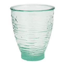 None - Set of 4 Modern Ring Recycled Glass Small Drinking Glasses - These beautiful green, seamed glass small drinking classes feature a textured ribbed exterior. The design of this glass is ideal because it was made for both hot and cold beverages.