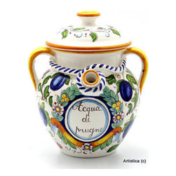 Artistica - Hand Made in Italy - FIRENZUOLA: Poutiche 'Acqua di Prugne' (Prune's Water) - FIRENZUOLA: The Firenzuola Collection portrays a true classic Tuscan design featuring fruits surrounded by intricate foliage design.