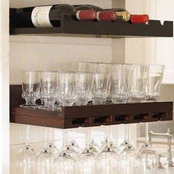 """Holman Entertaining Shelf, Set of 2, one of each, Espresso stain - These space-saving wood shelves provide a handsome place for storage and display. Bottle Shelf: 24"""" wide x 10"""" deep x 5"""" high Bottle shelf holds 6 wine bottles. Glass Shelf: 24"""" wide x 10"""" deep x 5"""" high Glass shelf holds up to 15 wine glasses; 3.5"""" diameter base. Shelf for glasses has wood glides that allow glasses to slip in and out smoothly, and to hang upside down. Simple Mount hardware (included) makes installation easy and secure. Watch a video on how to install {{link path='/stylehouse/videos/videos/h2_v3_rel.html?cm_sp=Video_PIP-_-PBQUALITY-_-HANG_LEDGESSHELVES' class='popup' width='420' height='300'}}ledges and shelves{{/link}}. Catalog / Internet Only."""