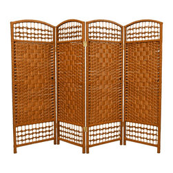 Oriental Furniture - 4 ft. Tall Fiber Weave Room Divider - Dark Beige - 4 Panels - A lightweight woven plant fiber room divider standing four feet high, perfect for the needs of a small space. A delicate, airy effect is achieved by the intersection of the open weave with the lattice running along the top and bottom.