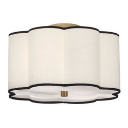 Robert Abbey Lighting - Robert Abbey Axis Semi-Flush Mount-Aged Brass-NOW IN STOCK! - Available in an aged Brass Finish withScalloped Fondine Fabric Shade or Blackened Antique Nickel with Ascot White Shade.