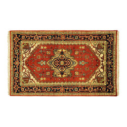 Manhattan Rugs - New Heriz Hand Knotted Wool 3' X 5' Serapi Rose Red Veg Dyed Oriental Rug H5287 - Heriz is situated in the northwestern part of Iran (Persia).  Though the term covers Hand knotted rugs of numerous small villages in the area, the most beautiful Rugs were woven in Heriz itself For the last 100 years, the Heriz carpet designs have basically remained the same, with only small variations in color pallets and density of the design. The late 19th Century Rug (so called Serapis) was of fewer details and softer colors and with time designs became denser with added jewel tone color pallets. The revival of the carpet industry in the late 19th Century was based on the demand of the Western markets, with America in particular. Weavers in Heriz hand knotted were asked to make carpets inspired by the Fereghan Sarouks of higher cost for consumers of more limited budgets. Even though Sarouk carpets changed style later on, Heriz weavers stayed with the geometric pattern till now.  However, Heriz was also a center of production of some of the best handmade carpets with both geometric and curvilinear floral patterns.  A special heirloom wash produces the subtle color variations that give rugs their distinctive antique look.