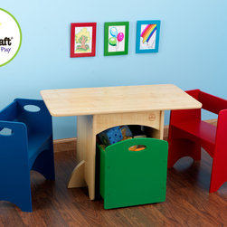 Kidkraft - Kids Table Set Kidkraft Table with Primary Benches - This Natural Table with Primary Benches gives kids a funny workspace which also provides convenient storage. This adorable room accessory could become a great gift for any occasion and Perfect for playing games, piecing together puzzles and many more. Its One red bench and one blue bench provide comfortable seating. Its Green storage bin rolls on casters and fits neatly under the table.