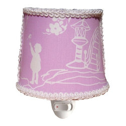 Charn&Co. - Pagoda Lavender Round Nightlight - Pagoda Lavender Round Nightlight with unique decorative shade complete with bulb and ready to go.