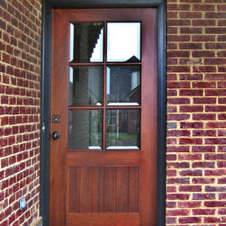 "Craftsman Doors - This is a simple craftsman style door, DbyD-4003,  shown in Honduran Mahogany. It is shown as a 36"" x 80"" unit with Beveled Glass in 6 lite TDL pattern over a flat v-groove panel.  The hardware is by Emtek."