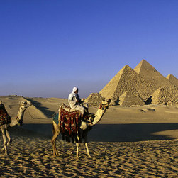 Custom Photo Factory - Person Riding Camel, Great Pyramids, Egypt Canvas Wall Art - Person Riding Camel, Great Pyramids, Egypt  Size: 20 Inches x 30 Inches . Ready to Hang on 1.5 Inch Thick Wooden Frame. 30 Day Money Back Guarantee. Made in America-Los Angeles, CA. High Quality, Archival Museum Grade Canvas. Will last 150 Plus Years Without Fading. High quality canvas art print using archival inks and museum grade canvas. Archival quality canvas print will last over 150 years without fading. Canvas reproduction comes in different sizes. Gallery-wrapped style: the entire print is wrapped around 1.5 inch thick wooden frame. We use the highest quality pine wood available. By purchasing this canvas art photo, you agree it's for personal use only and it's not for republication, re-transmission, reproduction or other use.