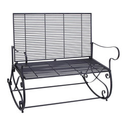 Benzara - Metal Rocker Bench 41in.W, 36in.H Patio Furniture - Made with iron alloy Size: 41 in. x18 in. x36 in.