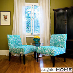 ANGELOHOME - angelo:HOME Bradstreet Damask Turquoise Blue Armless Chairs (Set of 2) - These fashionable armless chairs feature an eye-catching shade of turquoise blue and have been upholstered with classic damask fabric. The chairs have been ruggedly crafted to provide the perfect highlight for any elegant decorative theme.