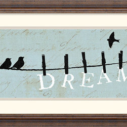 """Amanti Art - Birds on a Wire Dream Framed Print by Alain Pelletier - """"Dream"""" - Have you decor declare what is really important to you with this charming play of clothes line silhouettes by artist Alain Pelletier."""