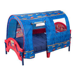 Delta Children's Products - Disney Pixar Cars Tent Toddler Bed - The Disney Cars Toddler Bed with Tent is perfect for transitioning your little speed racer from crib to big boy bed. The bed is built low to the ground for easy child access and comes with side rails for safe and secure sleeping. A cheerful Cars inspired design theme featuring your child's favorite Cars characters on the headboard and footboard making it a must have. Complements other Cars item sold separately online by Delta Children's Products. Features: -Weight limit up to 50 lbs. -Constructed of high quality plastic and metal frame. -Sturdy steel frame provides strength and stability that will last. -Non-toxic. -Recommended for 18 months to 5 years of age. -Meets all JPMA safety requirements. -Some assembly required.