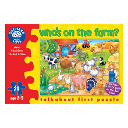 """The Original Toy Company - The Original Toy Company Kids Children Play Who's on the Farm - Identify the friendly farmyard animals in this appealing puzzle. Includes a detailed activity guide on the box base for added play value. Ages 3 years plus. Puzzle size- 16.5""""x 12"""" 20 pieces. Made in England."""