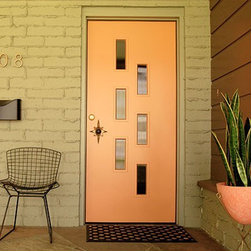 The Fontenot Doorlite Kit - Not only do I love this mid century modern design, I love the color coordination and the porch furniture in this picture. What a perfect retro look.