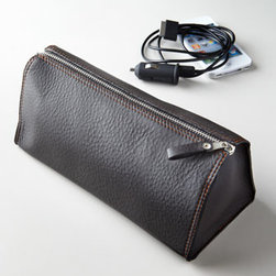 Horchow - Men's Casual Charger Bag - Zippered cord organizer/charger bag is divided into four interior compartments to keep cords and chargers in one place as you travel. Handcrafted of calfskin leather. Made in Germany.