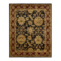 """Nourison - Nourison Jaipur JA18 5'6"""" x 8'6"""" Black Area Rug 49839 - As if inspired by a king's ransom, this glorious treasure radiates golden beauty from its rich ebony ground, framed within a border of royal crimson. Dramatically bold blossoms are threaded on slender vines, adding a sense of delicacy to the dazzling Persian-inspired design."""