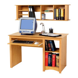 Prepac - Prepac Sonoma Maple 2-Piece Home Office Desk - A great addition to your study, office or den, the computer desk includes a roll-out keyboard tray, a deep bottom shelf designed to hold a computer CPU, as well as an adjustable shelf for books and office supplies. Constructed from a combination of high quality, laminated composite woods, this attractive series offers extremely good value for stylish yet budget conscious buyers. Shown with the wall hutch (Sold separately). With its unique design, the wall hutch can be mounted above Prepac's computer desks to store books, papers, and computer disks, or on its own as a floating bookcase for collectibles and accessories. It has four adjustable shelves and fits binders perfectly. Installation is easy using a two-piece hanging rail system. Shown with BWD-4870 & BDD-2948 computer desks (Sold separately). Available in black or maple finish