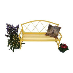 Austram Splash Bench-Yellow - Cheerful and inviting the Austram Splash Bench-Yellow will add sunshine to your home decor or patio setting. The diamond back design gracefully arching back and curving legs give this colorful metal bench a refreshing style. The simple slat seat and straight armrests ground the bench in the modern era without diminishing its traditional beauty. This bench goes through a two-step finishing process to give you the beauty and resilience you need for indoor or outdoor settings. First the hand-welded tubular metal frame is plated with zinc. Then a lemon yellow powder-coat finish is applied over the zinc plating. Even if the top finish should be scratched or chipped the zinc plating will still offer protection from rust.Enliven your home with this brightly colored bench - indoors or out.About AustramIn 1983 Austram became the first company in the U. S. to introduce a coconut fiber-lined wire planter to the North American consumer. Today Austram is an industry leader offering the most complete assortment of cocomoss planters currently available. Based in Durham N.C. Austram also offers an extensive line of products to the professional greenhouse grower. Their line also includes wire trellises and arbors fence edging benches plant stands baker's racks and more. As they head into the next century Austram's mission is to continue to market high-quality innovative decorative planters and planter accessories while continuing their tradition of providing the highest value quality and service in the lawn and garden industry.
