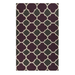 Surya - Contemporary Frontier 2'x3' Rectangle Prune Purple, Iron Ore Area Rug - The Frontier area rug Collection offers an affordable assortment of Contemporary stylings. Frontier features a blend of natural Prune Purple, Iron Ore color. Handmade of 100% Wool the Frontier Collection is an intriguing compliment to any decor.