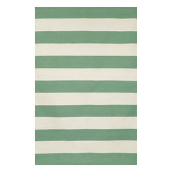"""Trans-Ocean - Rugby Stripe Aqua 8'3"""" x 11'6"""" Indoor/Outdoor Flatweave Rug - Simple stripe patterns combine with sophisticated blended colors in this Indoor/Outdoor flatweave. 100% Polyester, this flat weave reversible rug is easy to care for and great for any indoor outdoor space. Soft Polyester is tightly hand woven by artisans in India with great attention paid to detail such as the serging to create this durable yet attractive Indoor Outdoor rug."""
