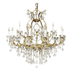 "The Gallery - NEW! CRYSTAL CHANDELIER 37X38 W/CRYSTAL BALLS! - A great European tradition. Nothing was ever quite so elegant as the fine crystal chandeliers that lent sparkle to brilliant evenings in palaces and manor houses across Europe. This two-tier version from the Maria Theresa collection is decorated with 100% crystal that capture and reflect the light of candle bulbs resting in a scalloped bobeche. The timeless elegance of these chandeliers is sure to lend a special atmosphere in every home.Assembly Required Size: H 38"" W 37"" 16 LIGHTS, 2 TIERS"