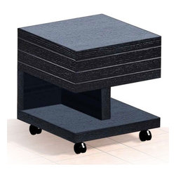 Modern wenge veneered end table with drawer and wheels Nikaho - This modern end table is a part of Nikaho occasional tables set. It end table is made of wenge colored oak veneered MDF and is mobile due to little wheels. Moreover there is an inbuilt drawer for your convenience.