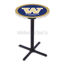 Holland Bar Stool - Holland Bar Stool L211 - Black Wrinkle Washington Pub Table - L211 - Black Wrinkle Washington Pub Table belongs to College Collection by Holland Bar Stool Made for the ultimate sports fan, impress your buddies with this knockout from Holland Bar Stool. This L211 Washington table with cross base provides a commercial quality piece to for your Man Cave. You can't find a higher quality logo table on the market. The plating grade steel used to build the frame ensures it will withstand the abuse of the rowdiest of friends for years to come. The structure is powder-coated black wrinkle to ensure a rich, sleek, long lasting finish. If you're finishing your bar or game room, do it right with a table from Holland Bar Stool. Pub Table (1)