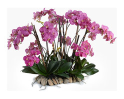 New Growth Designs - Dramatic Phalaenopsis Orchid Centerpiece - Bring your gorgeous style front and center with this striking centerpiece. Blooming with lifelike orchids on a bed of natural stones, it adds captivating color and delicate beauty to any table.