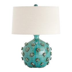 Umberto Turquoise Hand Thrown Terracotta Lamp - With the fun, graphic patterning expected in transitional European-inspired family rooms but the sculptural lines and quality construction evidenced by the highest quality in traditional home accents, the Umberto Terra Cotta Lamp's hand-thrown ceramic base has the rounded shape of a pomegranate studded with evenly-spaced diamonds of clay.  An all-over glaze washes the base in eye-soothing teal; an off-white shade gives a clean look.