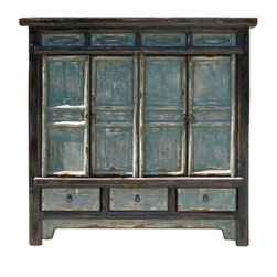Golden Lotus - Chinese Handmade Slate Grey Blue Lacquer Solid Wood Side Table Cabinet - This side cabinet is made of old solid elm wood and has very beautiful slate grey color.