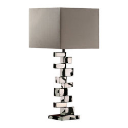 Dimond - Dimond Emmaus Contemporary Table Lamp X-9161D - From the Emmaus Collection, this Dimond contemporary table lamp is truly a sight to behold. The unique stacked rectangular details of base are highlighted by the eye-catching Black Chrome finish. For added appeal, this design features a clean and angular grey shade.