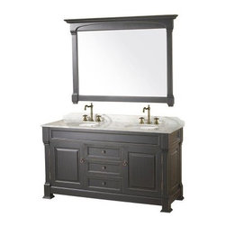 Wyndham Collection Andover 60-in. Antique Black Double Bathroom Vanity Set - The Wyndham Collection Andover 60-inch Black Double Bathroom Vanity is the perfect way to create space for two in your master bathroom. Quality crafted with select hardwoods and veneer, this double vanity is made to provide a lasting beauty and features a Black finish. The solid marble countertop is hand crafted and includes a backsplash with dual porcelain under-mount sinks. Cabinet doors provide plenty of space for all your bathroom necessities. This vanity also comes with an included matching mirror large enough for both of you with a beautiful wood frame that will complete the look of your bathroom.About the Wyndham CollectionWyndham and the Wyndham collection are all about refinement, detailing, uniqueness, quality, and longevity. They are dedicated to the quality of their products and own the factory where each piece is constructed. This allows Wyndham to offer products that reflect the rigorous quality standards required for every piece that is offered to their customers. The Wyndham collection showcases elegant, modern design styles that highlight functionality and style in every detail.