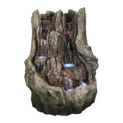 "Sunnydaze Decor - Cascading Mountain Falls Outdoor Water Fountain w/ LED Lights by Sunnydaze Decor - * Dimensions: 39"" W x 53"" H x 32"" D; 125 lbs"