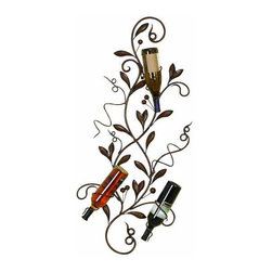UMA - Milano Wall Iron Wine Rack - An intricately formed vine is rendered in exquisite detail and provides decorative and artful storage for five bottles of wine in your home bar, kitchen, or dining area