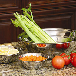 None - Stainless Steel Mixing Bowl Set  (Set of 5) - Bring organization to your culinary efforts with help from these handy prep bowls. Available as a set of five,the bowls fit neatly together when not in use. The mirrored finish offers an elegant look,too.